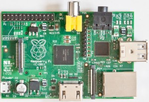 Top-down view of Raspberry Pi